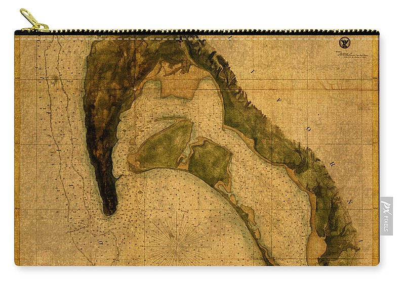 Map Carry-all Pouch featuring the mixed media Map Of San Diego Bay California Circa 1857 On Worn Distressed Canvas Parchment by Design Turnpike