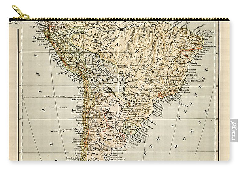 Burnt Carry-all Pouch featuring the photograph Map Of South America 1875 by Thepalmer