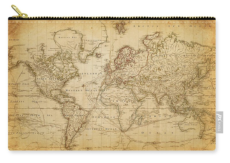 Globe Carry-all Pouch featuring the digital art Map Of The World 1800 by Thepalmer