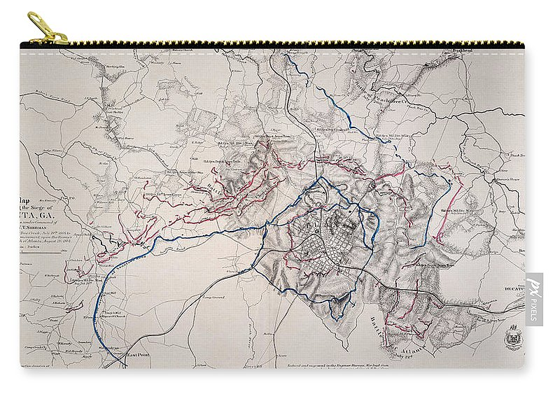 1864 Carry-all Pouch featuring the photograph Map: Siege Of Atlanta 1864 by Granger