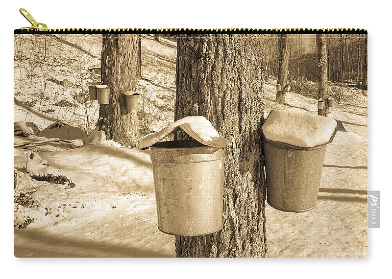 Vermont Carry-all Pouch featuring the photograph Maple Sap Buckets by Edward Fielding