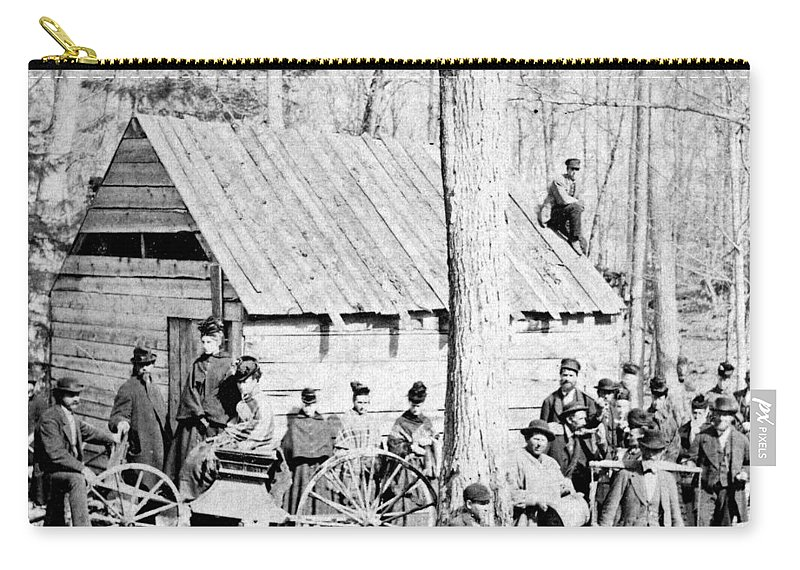 1890 Carry-all Pouch featuring the painting Maple Sugar Party, C1900 by Granger
