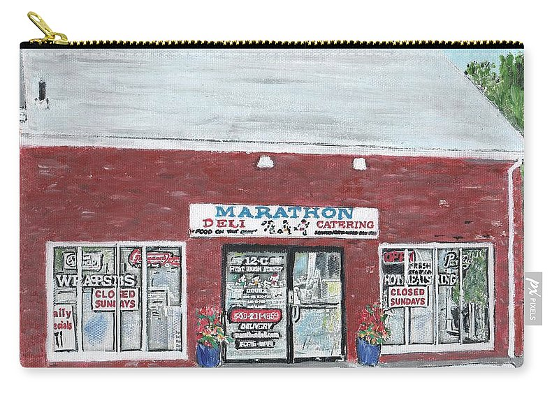 Food And Beverage Carry-all Pouch featuring the painting Marathon Deli by Cliff Wilson