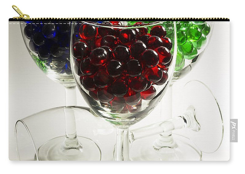 Red Carry-all Pouch featuring the photograph Marbles Wine Glasses 2 by John Brueske