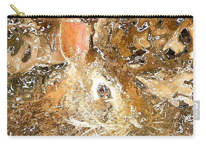 Frank Carry-all Pouch featuring the digital art March 025 0 Rabbit Eyes Looking by Frank Crescenti