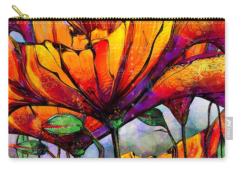 Poppies Carry-all Pouch featuring the digital art March Of The Poppies by Mary Eichert