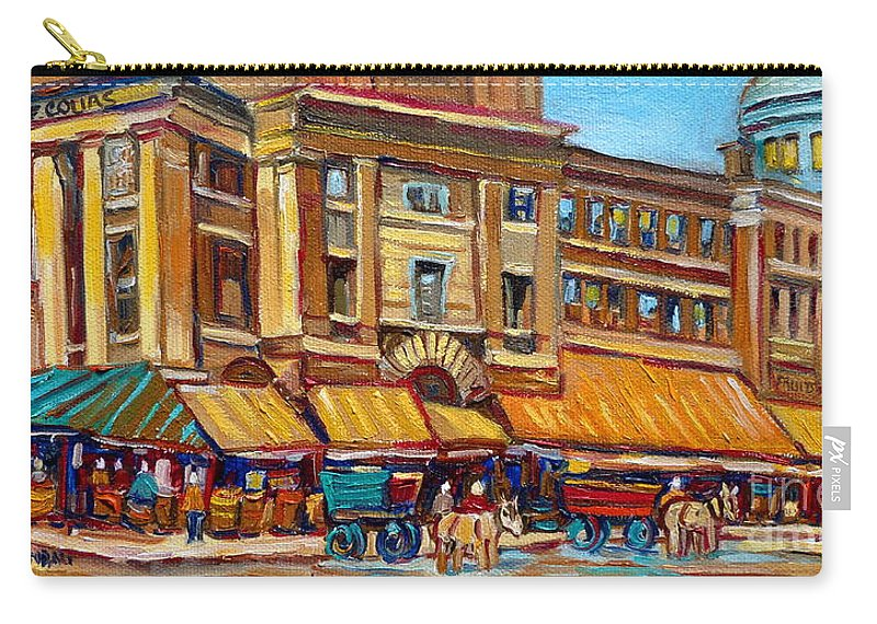 Montreal Art Carry-all Pouch featuring the painting Marche Bonsecours Old Montreal by Carole Spandau