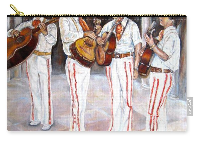 Mariachis Carry-all Pouch featuring the painting Mariachi Musicians by Carole Spandau