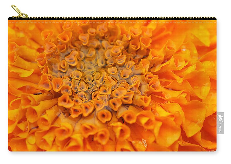 Marigold Carry-all Pouch featuring the photograph Marigold Marcro by Karol Livote