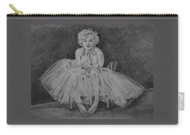 Marilyn Carry-all Pouch featuring the drawing Marilyn by Cynthia Snider