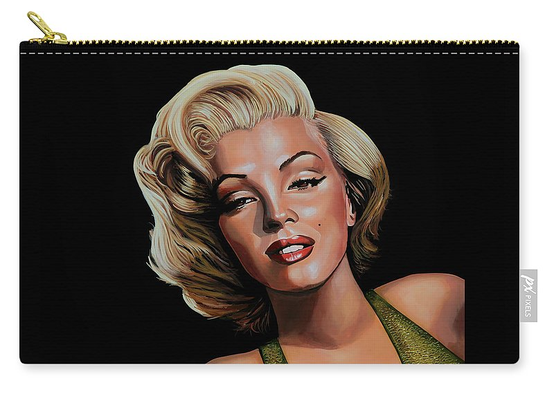 Marilyn Monroe Carry-all Pouch featuring the painting Marilyn Monroe 2 by Paul Meijering