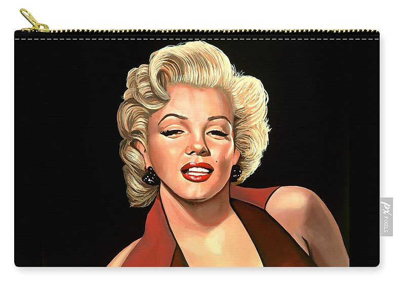 Marilyn Monroe Carry-all Pouch featuring the painting Marilyn Monroe 4 by Paul Meijering