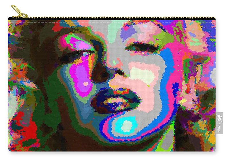 Marilyn Carry-all Pouch featuring the painting Marilyn Monroe - Abstract 1 by Samuel Majcen