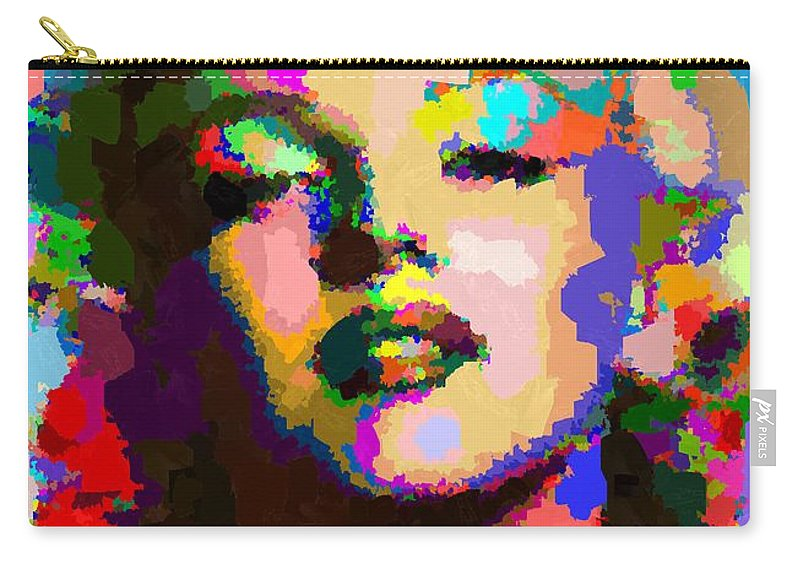 Marilyn Carry-all Pouch featuring the painting Marilyn Monroe - Abstract by Samuel Majcen