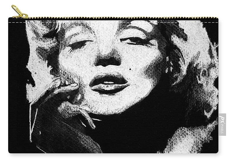 Marilyn Monroe Carry-all Pouch featuring the painting Marilyn Monroe by Brett Winn