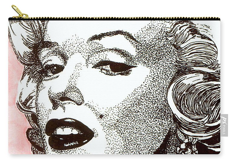 Marilyn Monroe Carry-all Pouch featuring the drawing Marilyn Monroe by Cory Still