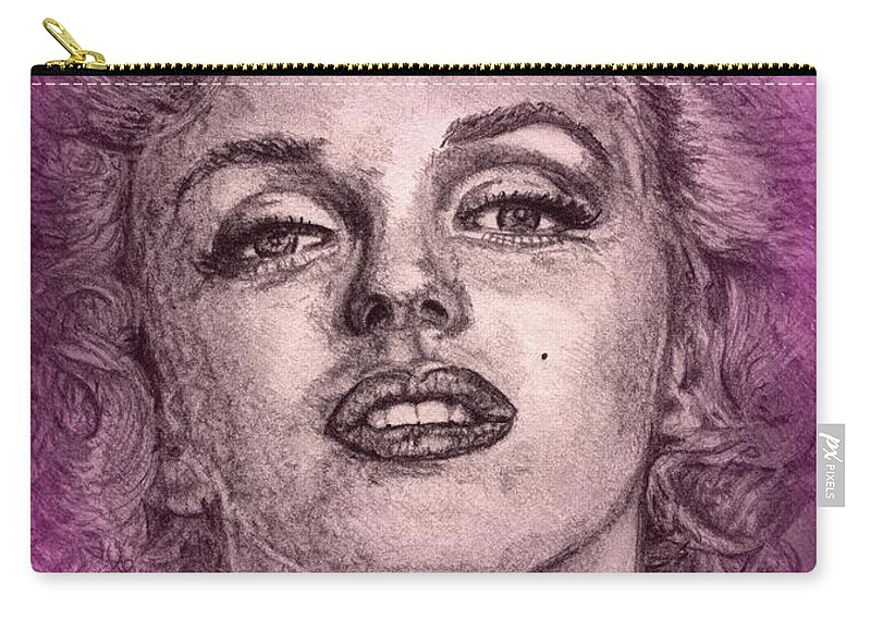 Mccombie Carry-all Pouch featuring the digital art Marilyn Monroe In Pink by J McCombie