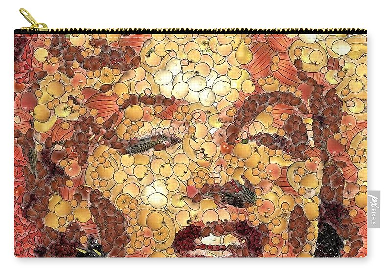 Portraits Carry-all Pouch featuring the painting Marilyn Monroe On The Way Of Arcimboldo by Dragica Micki Fortuna