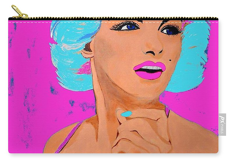Marilyn Monroe Carry-all Pouch featuring the painting Marilyn Monroe Undisputed Beauty by Saundra Myles