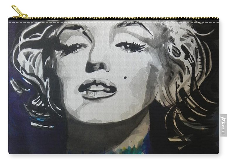 Watercolor Painting Carry-all Pouch featuring the painting Marilyn Monroe..2 by Chrisann Ellis