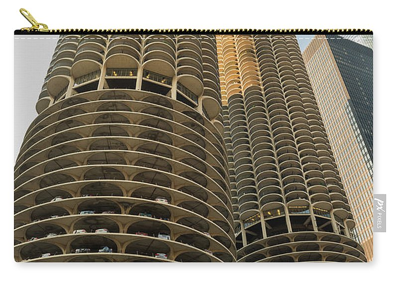 Marina Carry-all Pouch featuring the photograph Marina City Chicago by Steve Gadomski