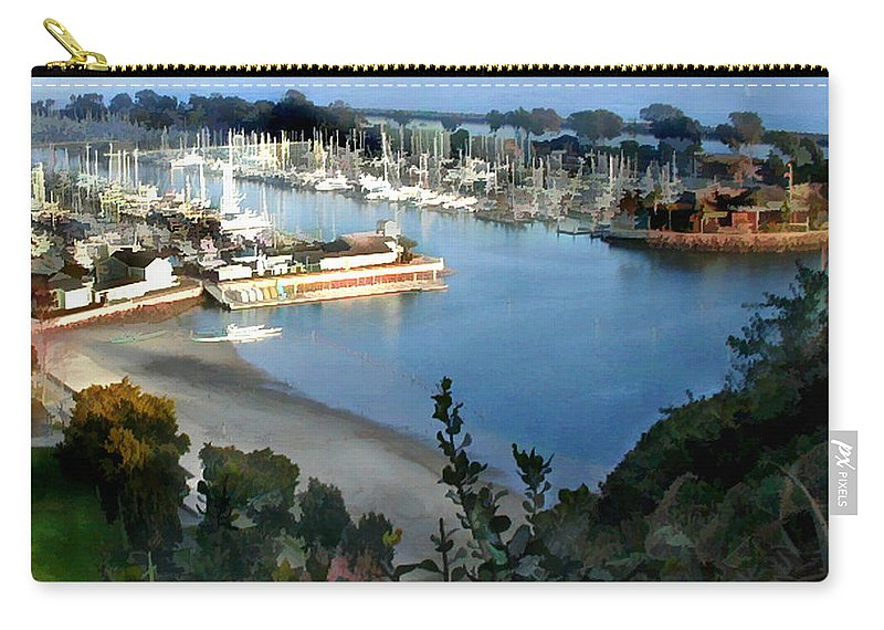 Boats Carry-all Pouch featuring the painting Marina Overlook by Elaine Plesser