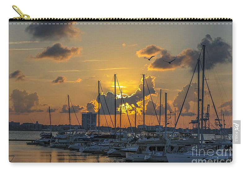Marina Carry-all Pouch featuring the photograph Marina Sunset by Dale Powell