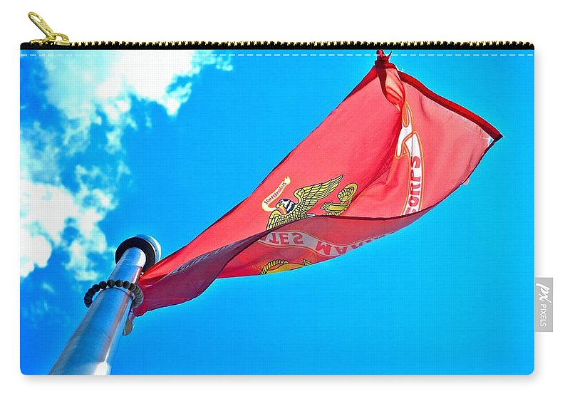 Marine Corps Flag Carry-all Pouch featuring the photograph Marine Corps Flag by Tara Potts