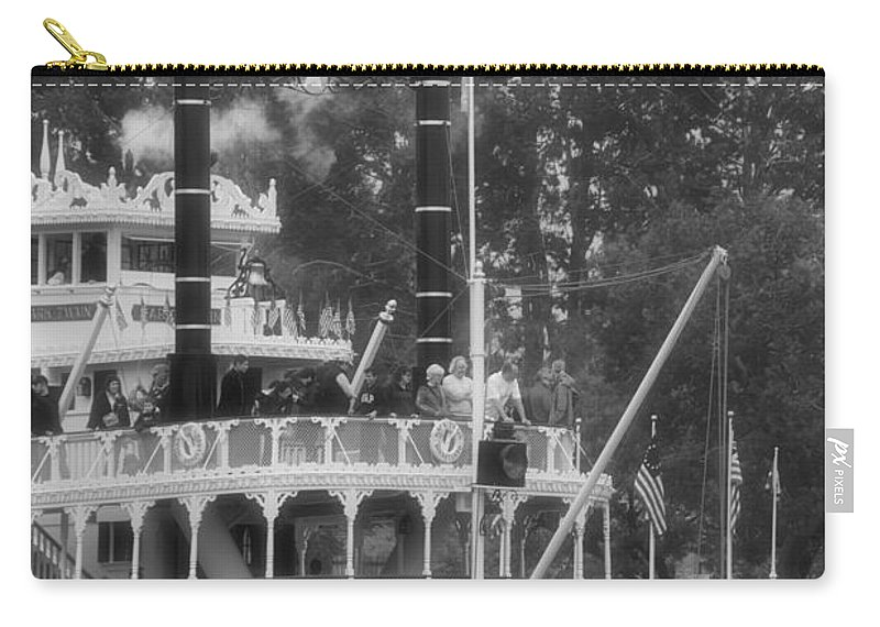 Disney Carry-all Pouch featuring the photograph Mark Twain Riverboat Frontierland Disneyland Vertical Bw by Thomas Woolworth