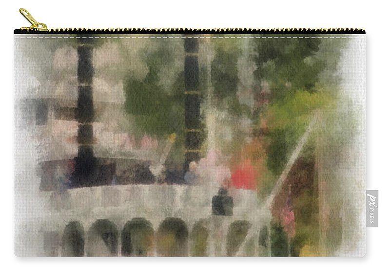 Disney Carry-all Pouch featuring the photograph Mark Twain Riverboat Frontierland Disneyland Vertical Photo Art 01 by Thomas Woolworth