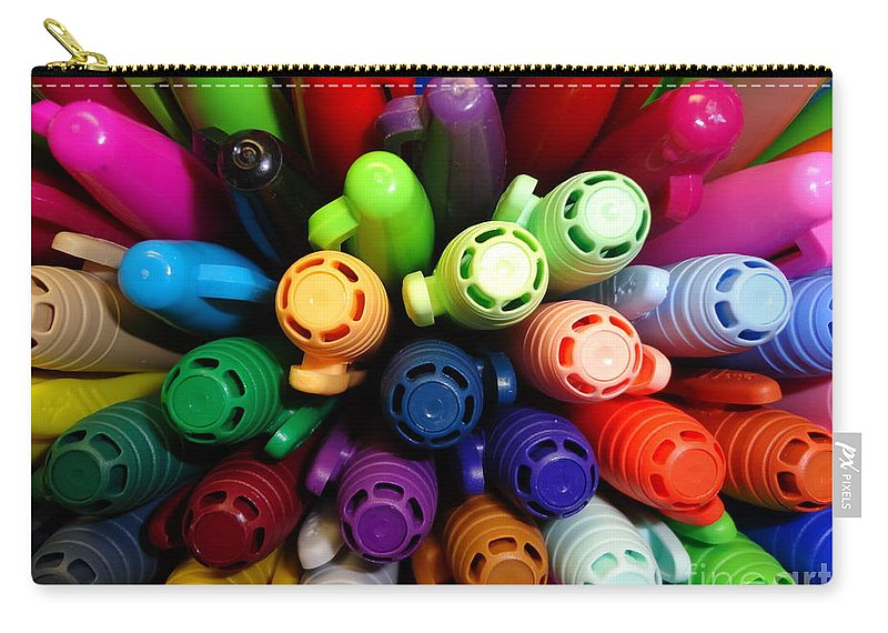 Marker Carry-all Pouch featuring the photograph Marker Mayhem II by Maria Bonnier-Perez