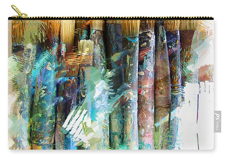 Artist Brushes Paint Tools Grunge Abstract Still+life Messy Artistic Painting Sketch Carry-all Pouch featuring the painting Marker Sketch Of Artist's Brushes by Elaine Plesser