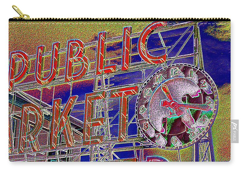 Seattle Carry-all Pouch featuring the digital art Market Clock 1 by Tim Allen