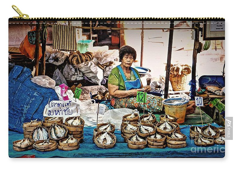 Market Carry-all Pouch featuring the photograph Market Fish by Ian Gledhill