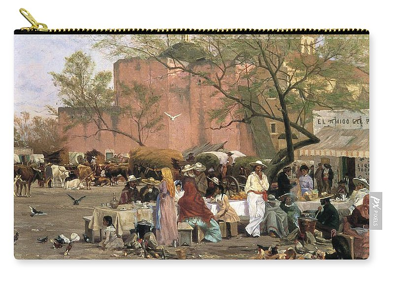 Market Place Carry-all Pouch featuring the painting Market Plaza by Thomas Allen