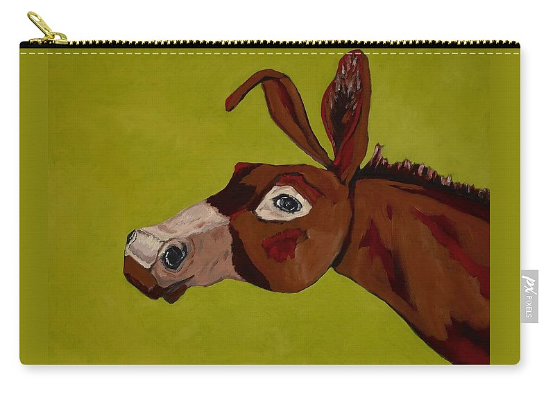 Mule Carry-all Pouch featuring the painting Marlene The Mule by Randine Dodson
