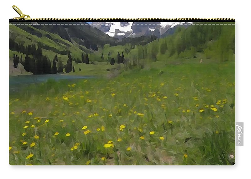 Spring Color In Maroon Bells Carry-all Pouch featuring the photograph Maroon Bells Watercolor by Dan Sproul