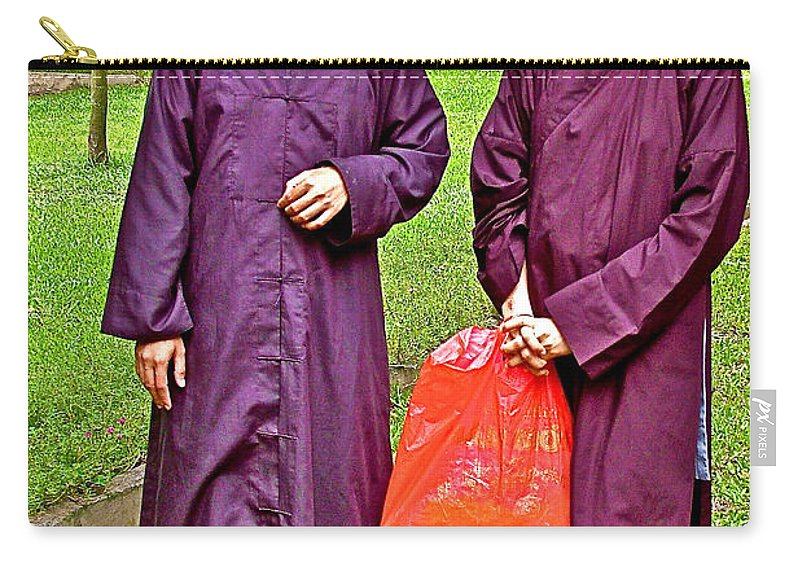 Maroon-robed Monks At Buddhist University In Chiang Mai Carry-all Pouch featuring the photograph Maroon-robed Monks At Buddhist University In Chiang Mai-thailand by Ruth Hager