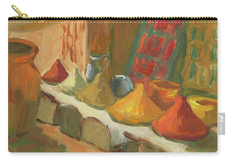 Marakesh Carry-all Pouch featuring the painting Marrakesh Market by Diane McClary
