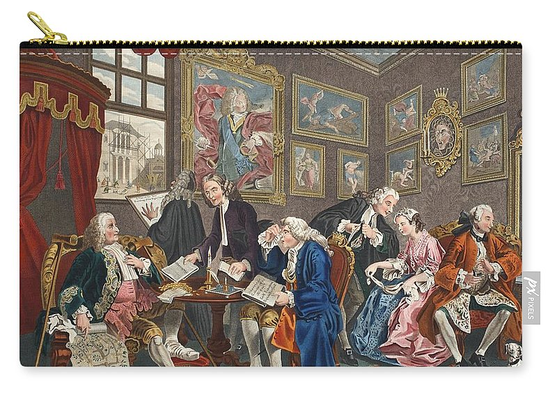 Family Tree Carry-all Pouch featuring the drawing Marriage A La Mode, Plate I, The by William Hogarth