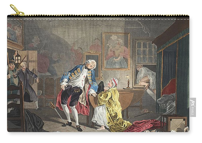 Earl Carry-all Pouch featuring the drawing Marriage A La Mode, Plate V, The by William Hogarth