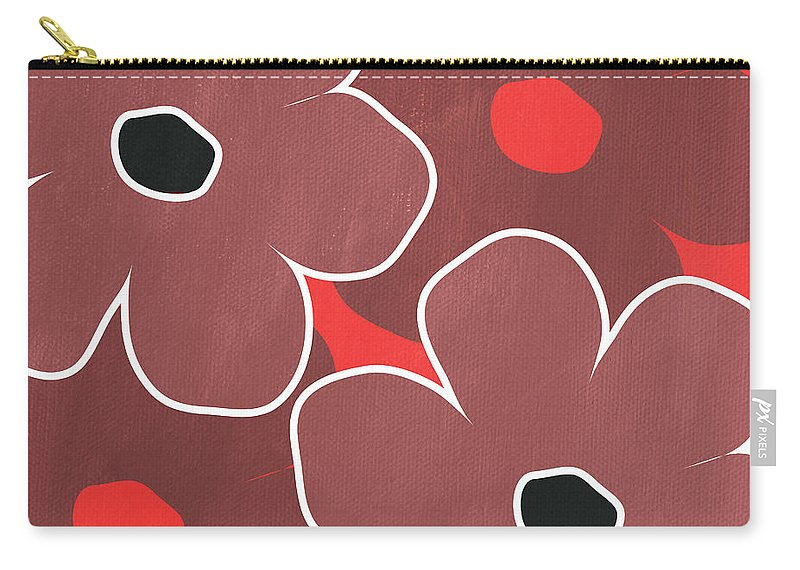 Flowers Carry-all Pouch featuring the painting Marsala And Red Flowers- Bold Floral Art by Linda Woods