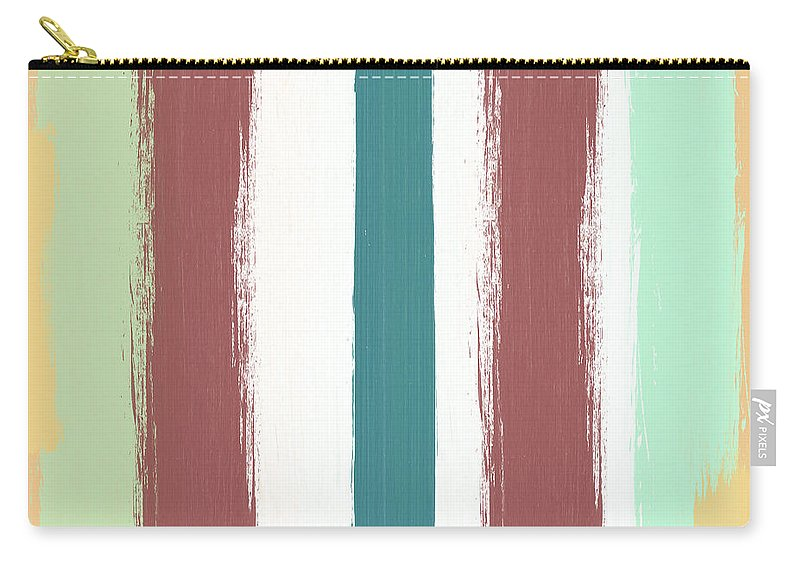 Marsala Carry-all Pouch featuring the painting Marsala Stripe- Abstract Pattern Painting by Linda Woods