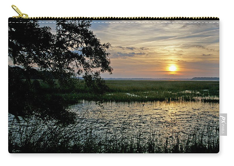 Sunrise Carry-all Pouch featuring the photograph Marsh View by Phill Doherty