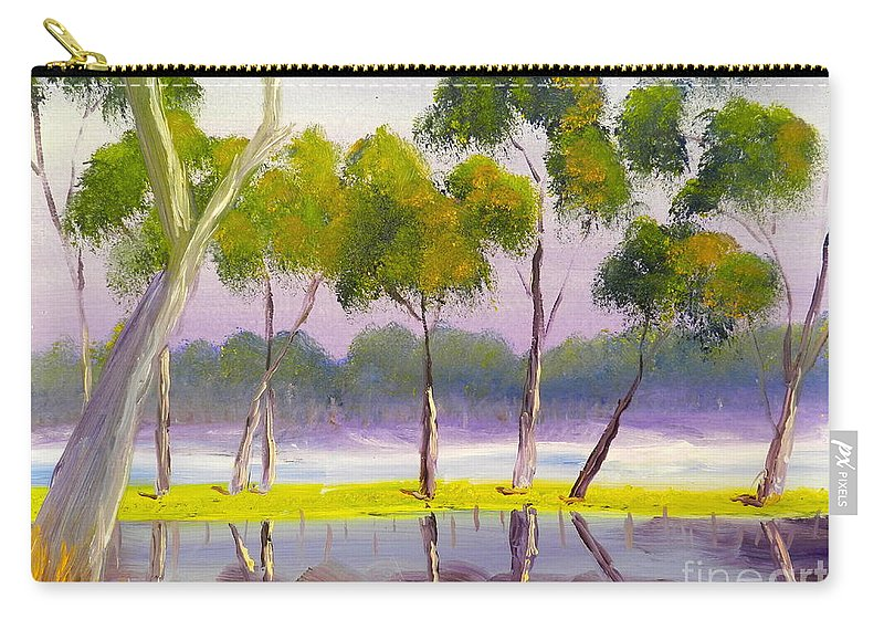 Impressionist Carry-all Pouch featuring the painting Marshlands Murray River Red River Gums by Pamela Meredith