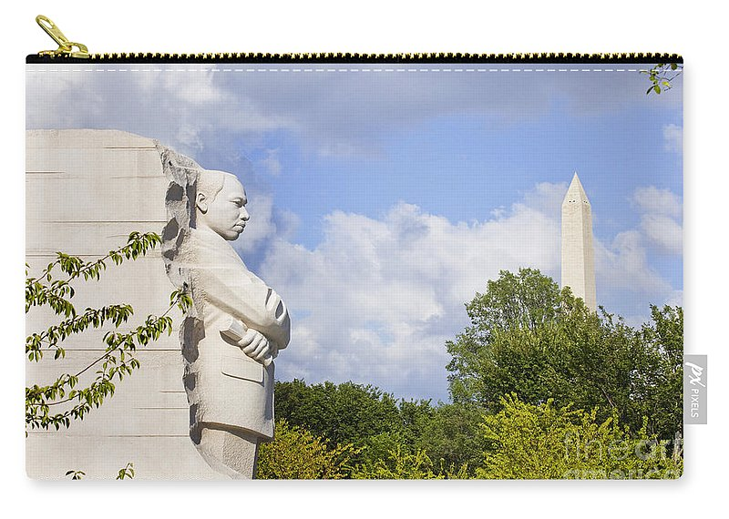 Martin Carry-all Pouch featuring the photograph Martin Luther King Jr Memorial And The Washington Monument by B Christopher