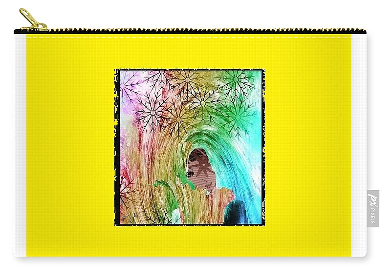 Mary Carry-all Pouch featuring the digital art Mary In The Field by Ann Calvo