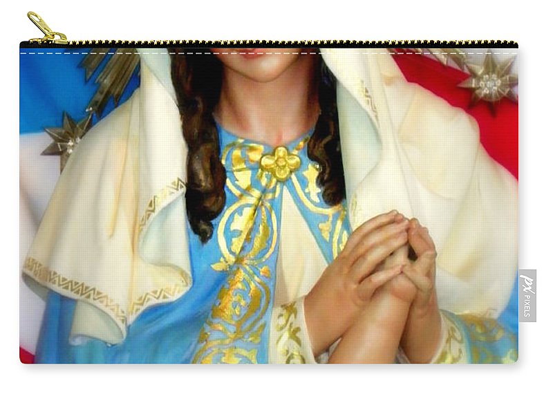 Christmas Cards Carry-all Pouch featuring the photograph Mother Mary by Karen Wiles