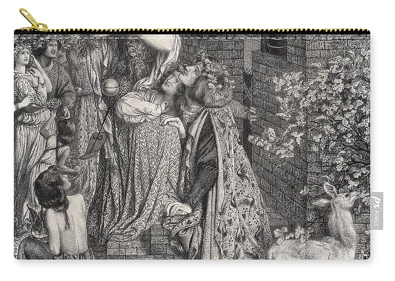 Hair Carry-all Pouch featuring the drawing Mary Magdalene At The Door Of Simon by Dante Gabriel Charles Rossetti