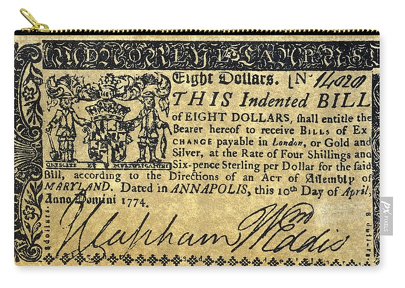 1774 Carry-all Pouch featuring the painting Maryland Bank Note, 1774 by Granger